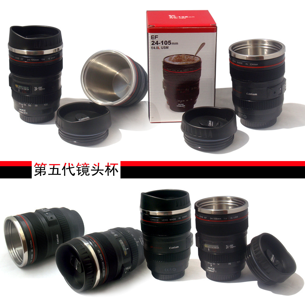 60pcs/lot The fifth-generation factory wholesale creative simulation camera lens cup (stainless steel liner) gifts Cup