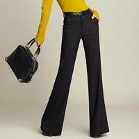 2018 осенние модные повседневные плюс женский размер Женщины Девушки шерсть Свободные черные свободные штаны брюки одежда