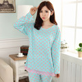 Spring and Autumn new pajamas female blue peach heart milk silk large size women 's home clothing suits