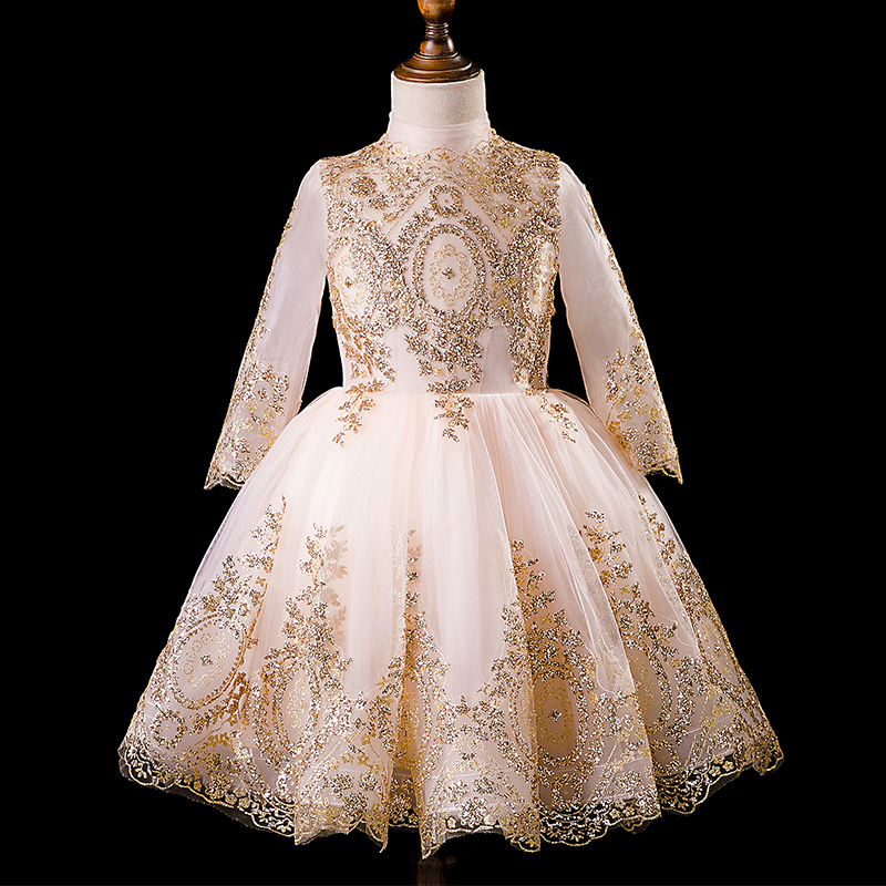 Bling Sequined Flower Girl Dresses Long Sleeve Stand Collar Ball Gown Princess Evening Gowns Knee-Length Birthday Party VestidosBling Sequined Flower Girl Dresses Long Sleeve Stand Collar Ball Gown Princess Evening Gowns Knee-Length Birthday Party Vestidos
