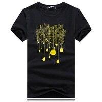 Fashion Summer T Shirt Male Short Sleeved City Bulb Light Printed Casual Tees Tops Brand O