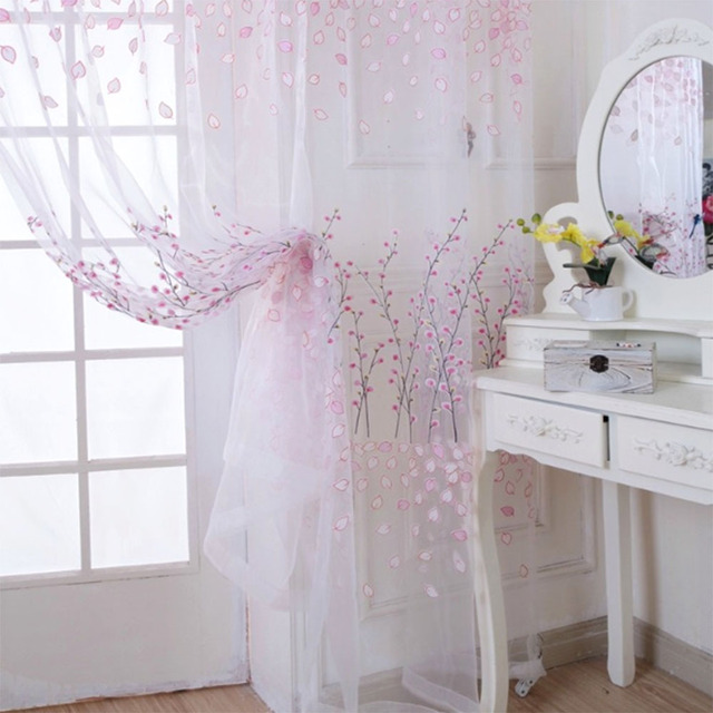 romantische floral sheer tll vorhang fenster drapieren steuerung schal vorhang wohnzimmer vorhang - Wohnzimmer Romantisch