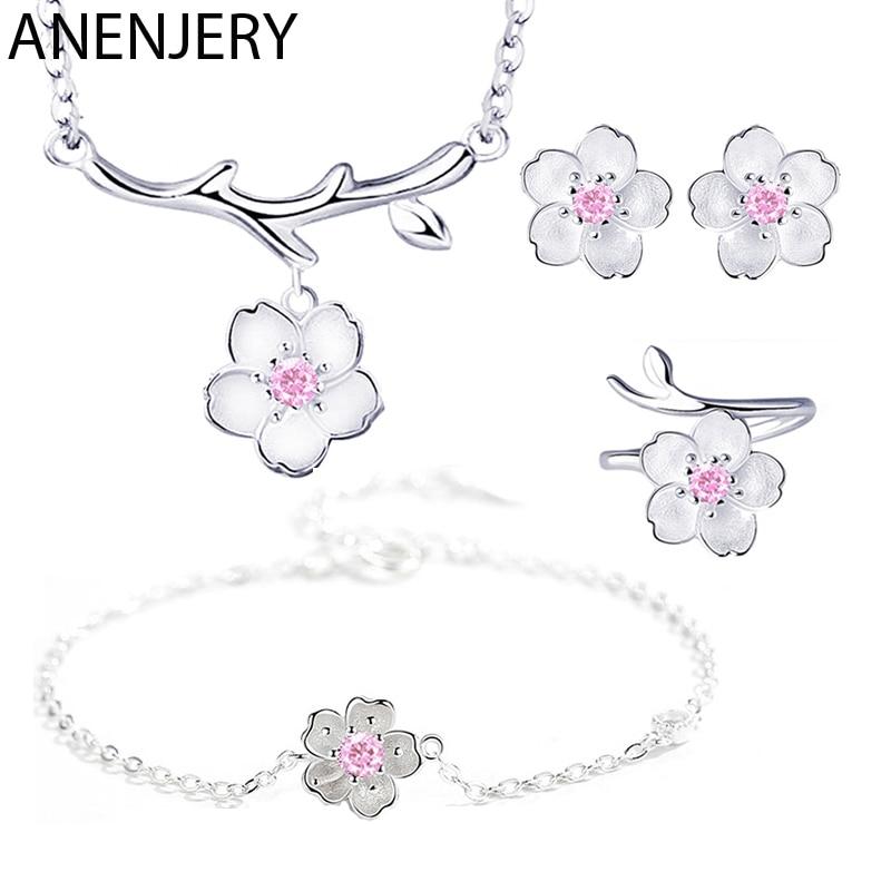 ANENJERY, 925 пробы, серебряные ювелирные наборы, романтическая цветущая вишня, цветок, ожерелье+ серьги+ кольцо+ браслет для женщин