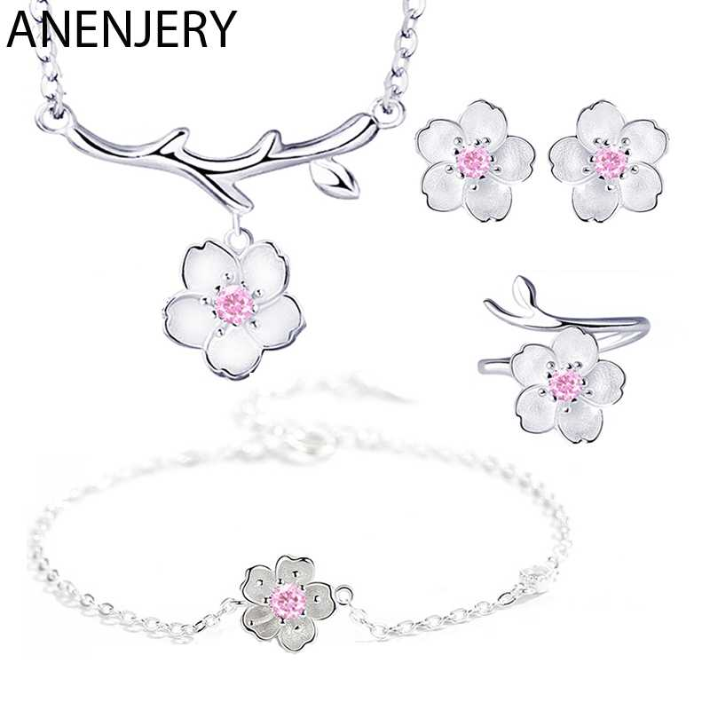ANENJERY 925 Sterling Silver Jewelry Sets Romantic Cherry Blossoms Flower Necklace+Earrings+Ring+Bracelet For Women