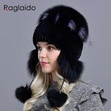 Raglaido kış şapka kadınlar için sıcak doğal hakiki rex tavşan kürk örgü şapkalar earflaps ile handsewn moda bombacı şapka