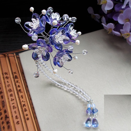 Zi Wei Lagerstroemia Indica Czech Crystal Petal Hair Stick Vintage Chinese Hanfu Costume Accessories Tassel Hair Stick
