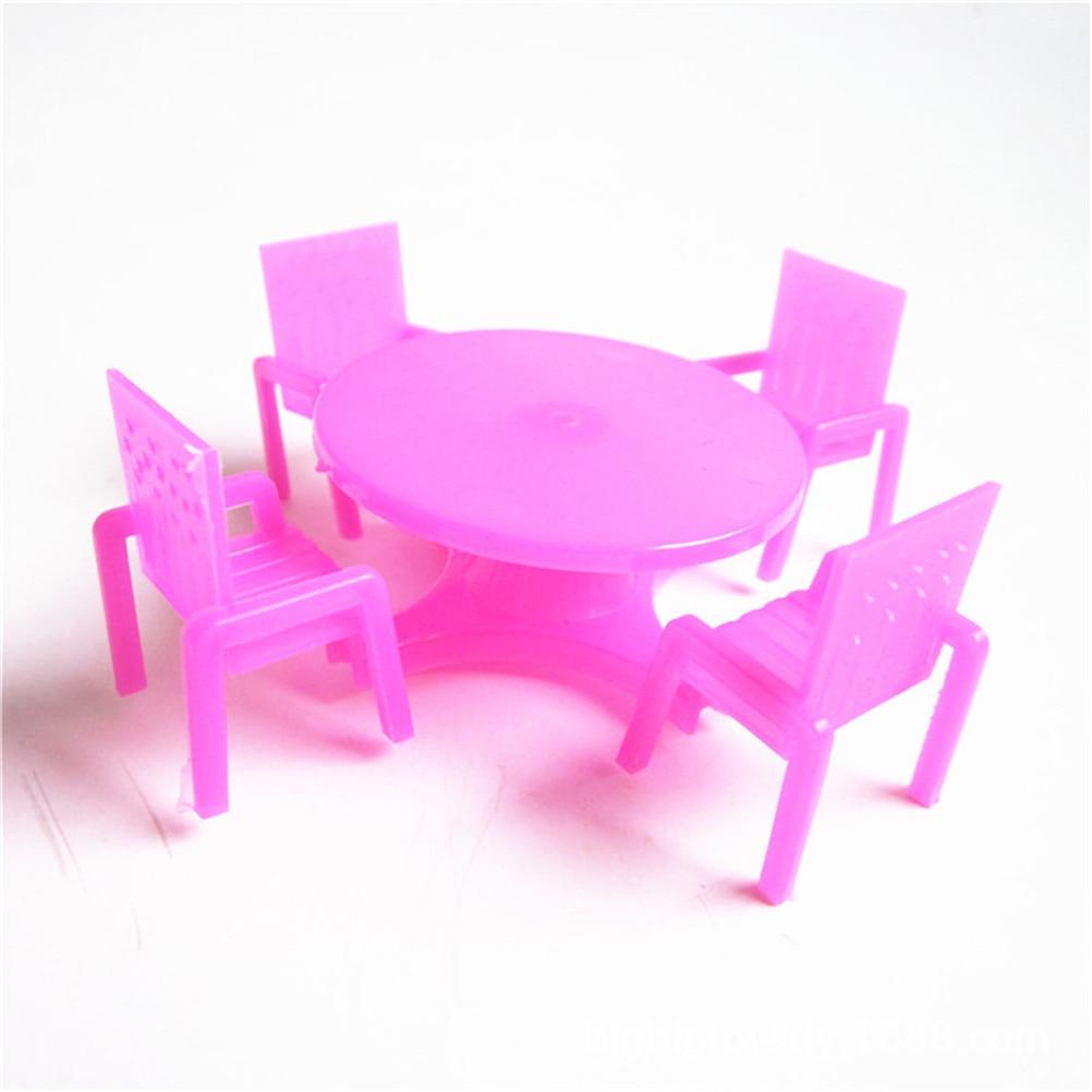 1 Set (4 Stoelen + 1 Bureau) Roze Nursery Baby Stoel Bureau Voor Pop Poppenhuis Meubelen, Speelhuis Speelgoed Exquise (On) Vakmanschap
