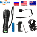 zk20 T6 led torch 9000Lm zoom tactical flashlight for Hunting +1*18650 battery+ Remote Switch+Charger+Gun Mount dropshipping