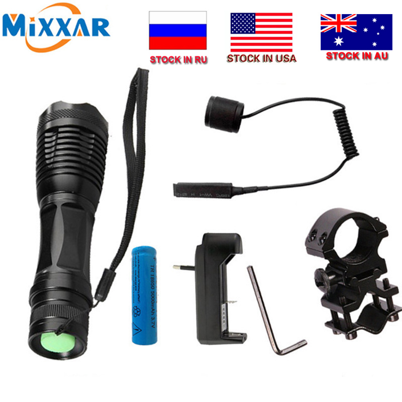 zk20 T6 led torch 9000Lm zoom senter taktis untuk Berburu + 1 * 18650 baterai + Remote Switch + Charger + Gun Mount dropshipping