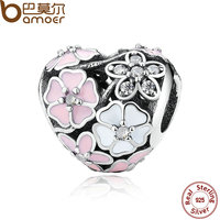 BAMOER 925 Silver Jewelry Poetic Blooms Mixed Enamels Clear CZ Heart Charms For Bracelet Accessories For