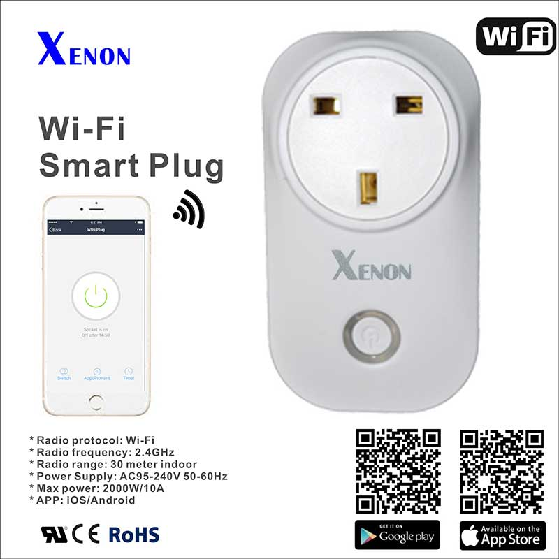 Work with Alexa Xenon Wi-Fi socket uk Smart power socket plug outlet,APP remote Controls Timer Switch Smart Home Automation gorelax uk wifi wireless remote control socket smart timer plug smart home power socket uk standard via app phone