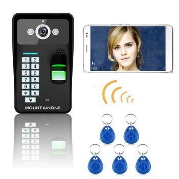 HD 720 P bezprzewodowy WIFI RFID hasło rozpoznawanie linii papilarnych wideo telefon drzwi intercom System widzenie w nocy tanie i dobre opinie CMOS wireless Brak MOUNTAINONE Jeden do pięciu wideo domofon 12V1A Wejście Maszyna Do Montażu na ścianie Głośnomówiący
