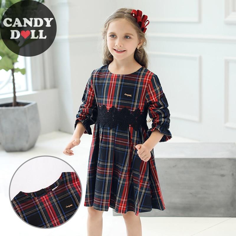 CANDYDOLL Automne Nouveau Enfants Plaid Robe Avec Dentelle Noire Fille Robes Lotus Feuille Manches Longues Filles Robes 3 4 5 6 7 8 9 10 ans