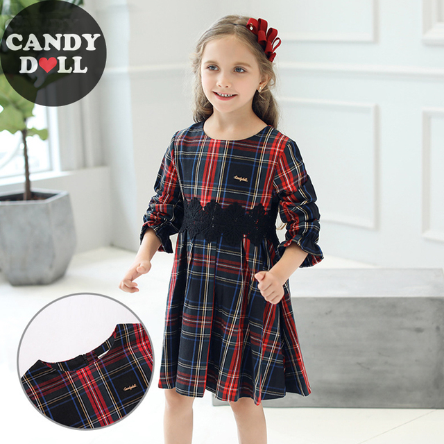 a7a66253394 CANDYDOLL Autumn New Kids Plaid Dress With Black Lace Girl Dresses Lotus  Leaf Long Sleeve Girls Dresses 3 4 5 6 7 8 9 10 Years