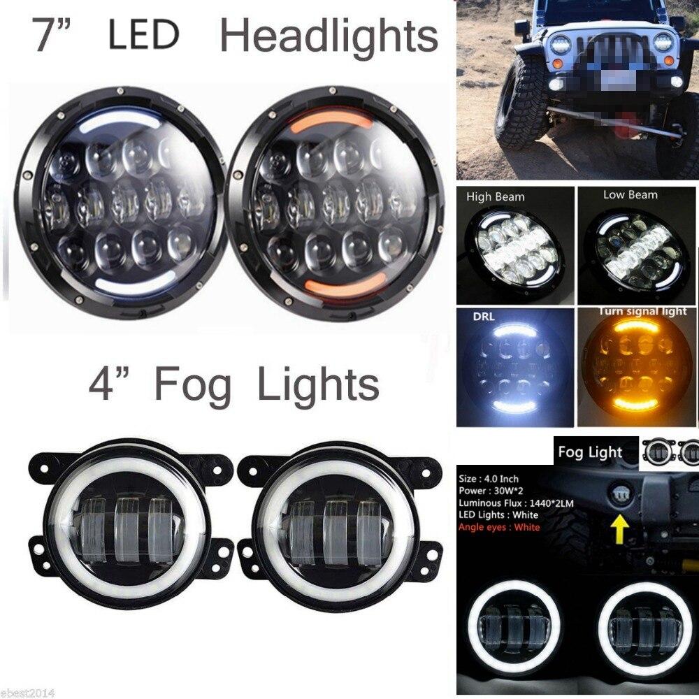 2х 105ВТ на H4 h13 высокий ДХО ближнего света светодиодные фары + 2 х 30 Вт Противотуманные фары для Jeep Вранглер JK, как
