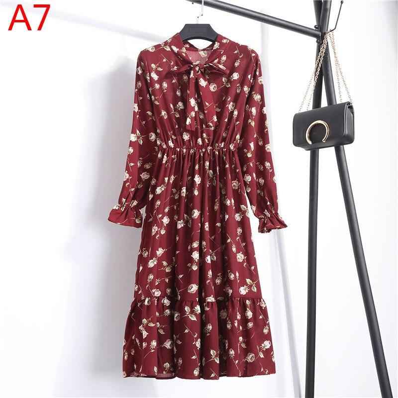 Korean Black Shirt Vestidos Office Polka Dot Vintage Autumn Dresses Women Winter Dress 19 Midi Floral Long Sleeve Dress Female 28