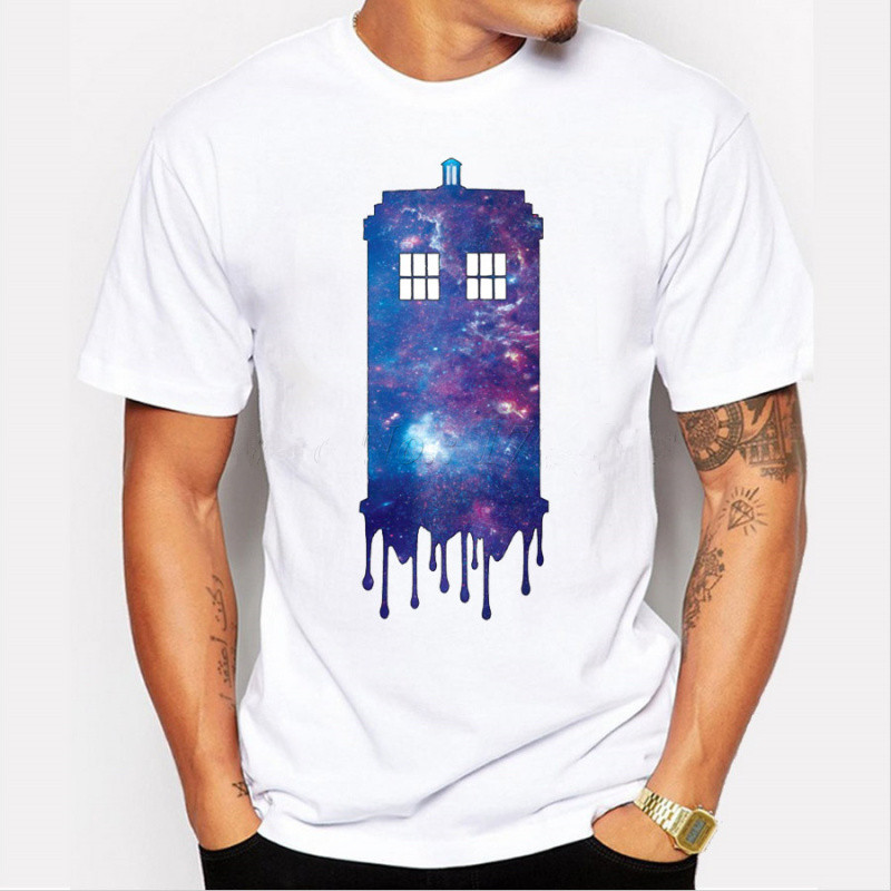 2017 Hot sale men fashion doctor who t shirt short sleeve galaxy TARDIS police box printed male tops hipster funny cool tee
