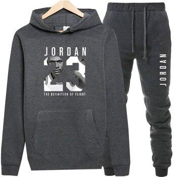 New 2018 Brand Tracksuit Fashion JORDAN 23 Men Sportswear Two Piece Sets All Cotton Fleece Thick hoodie+Pants Sporting Suit Male 1
