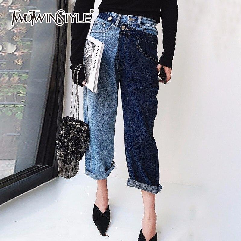 Pantalones vaqueros de retazos de estilo TWOTWINSTYLE para mujeres de alta  cintura Irregular de gran tamaño de verano Pantalones largos de mezclilla  2018 ... 0298aa1e768c