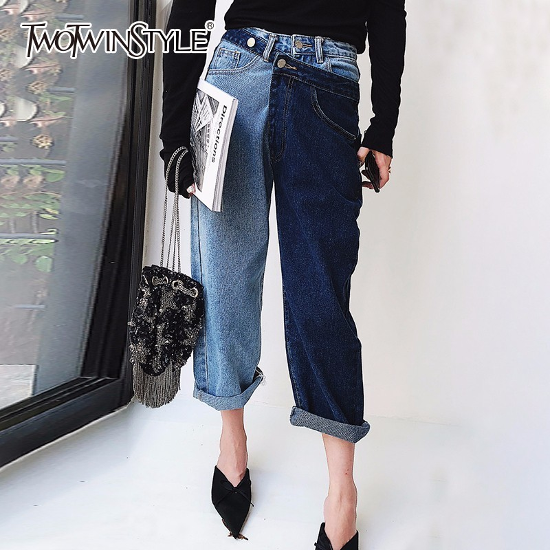 TWOTWINSTYLE Patchwork   Jeans   For Women High Waist Irregular Large Size Summer Denim Long Trousers 2018 Fashion Harajuku Clothing