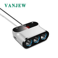 VANJEW C12 Car Cigarette Lighter 3 Way Sockets Power Adapter 2 USB Ports Car Charger Splitter Lighters 5V 3.1A Output Power