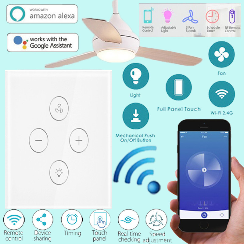EU WiFi Smart Ceiling Fan Switch APP Remote Timer and Speed Control Compatible with Alexa and Google Home-in Smart Remote Control from Consumer Electronics