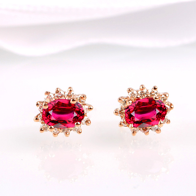 Robira 2017 brand jewelry luxury Pigeon Blood Natural Ruby Stud Earrings For Women 18K Rose Gold Earrings For Girls Gift