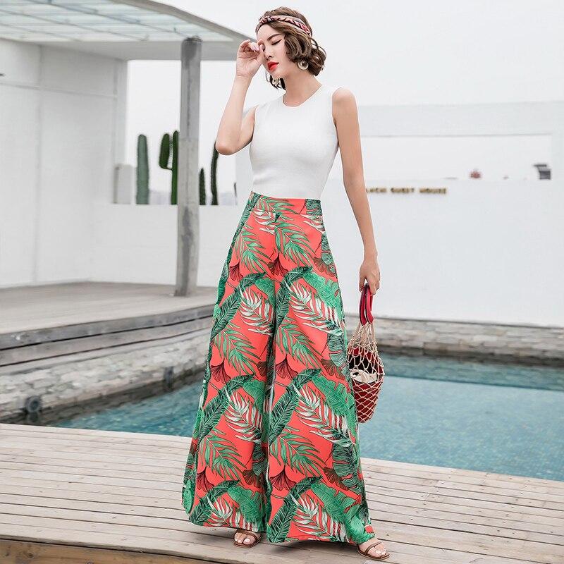 Fashion   pants   2018 explosions retro bohemian   wide  -  leg     pants   high waist large   wide     leg     pants   trousers mop beach holiday   pants