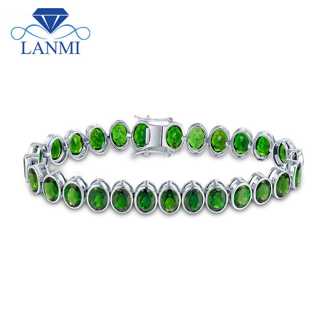 New!!! Unique Design 27pcs Oval 5x7mm Green Tourmaline Fantastic Engage Bracelet for Women Wedding Gemstone Jewelry Party