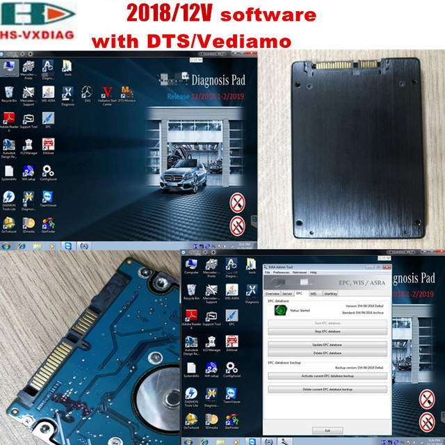 US $99 0 |The latest SD connector C4/C5 star diagnosis 2019/03  DAS/EPC/DTS/Vediamo HDD(320G)SSD(240G) software specialty for Mercedes  Benz-in Software