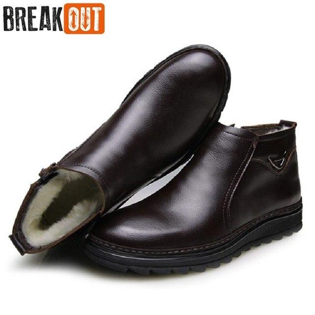 Break Out New Men Winter Boots Men Snow Boots Warm Plush Zip Genuine Leather Quality Men Ankle Boots For Men Shoes