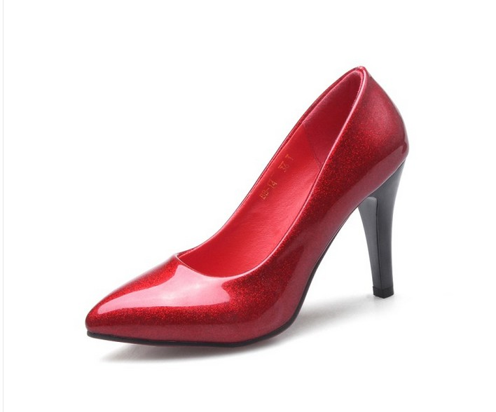 Big Size 35 46 Party Wedding Shoes New Style Women Fashion Thin High Heels Pumps Red Bottom PU