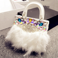 2017 Unique Design Women's Fashion Rhinestone Handbag Bride Luxury Fur One Shoulder Bags Princess Fashion Diamonds Bags