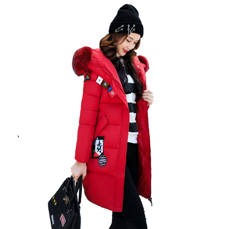 Winter Jacket Women New Fashion Casual Thick Warm Long Outwear Coat Down Cotton Hooded Padded Parkas Tops Clothing Plus Size 3XL 2017 cheap women winter jacket down cotton padded coats casual warm winter coat turn down large size hooded long loose parkas
