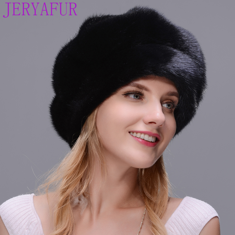 JERYAFUR Brand new fur hat style cloak fur hat real natural black mink fur hat for woman winter warm hat cap protection ear foreign trade explosion models in europe and america in winter knit hat fashion warm mink mink hat lady ear cap dhy 36