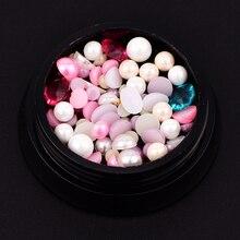 1 Box DIY Manicure Tool 3D Faux Pearl Rhinestone Steel Ball Nail Art Decoration
