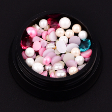 1 Box DIY Manicure Tool 3D Faux Pearl Rhinestone Steel Ball Nail Art Decoration
