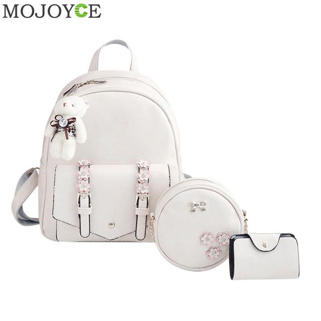 3cb8f35b2204 3pcs set Autumn Women Flower Backpack PU Leather Backpack Travel Mini Shoulder  Bags Pink Mochila For Teenager Girls Backpacks