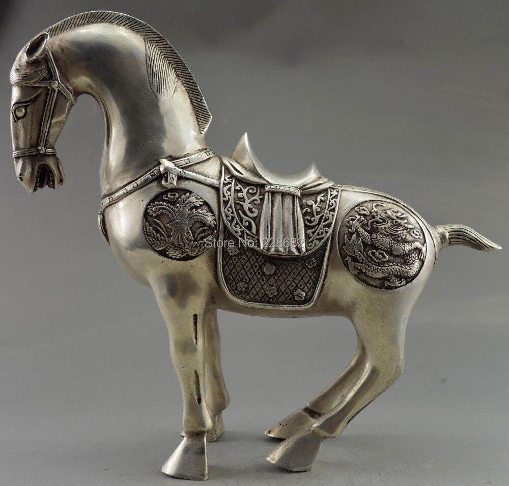 Collection décorée vieux travail manuel Tibet argent sculpté grande Statue de cheval du zodiaque livraison gratuite