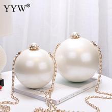 Bolso de mano de acrílico con forma de bola blanca para mujer, bolsa de mano femenina, de lujo, con decoración de perlas, para novia, con cadena, estilo mensajero