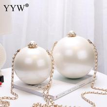 Designer Women White Ball Shape Acrylic Clutch Bags Luxury Pearl Decor Bridal Purse Handbags Chain Messenger Bags Shoulder Bag