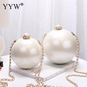 Image 1 - Designer Women White Ball Shape Acrylic Clutch Bags Luxury Pearl Decor Bridal Purse Handbags Chain Messenger Bags Shoulder Bag