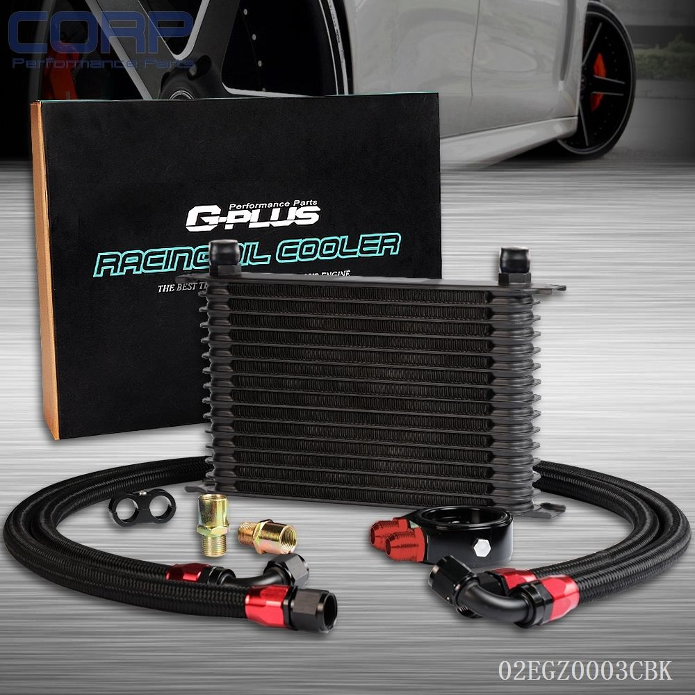 ФОТО GPLUS 15 Row An10 Universal Engine Transmission Oil Cooler +Filter Adapter Kit