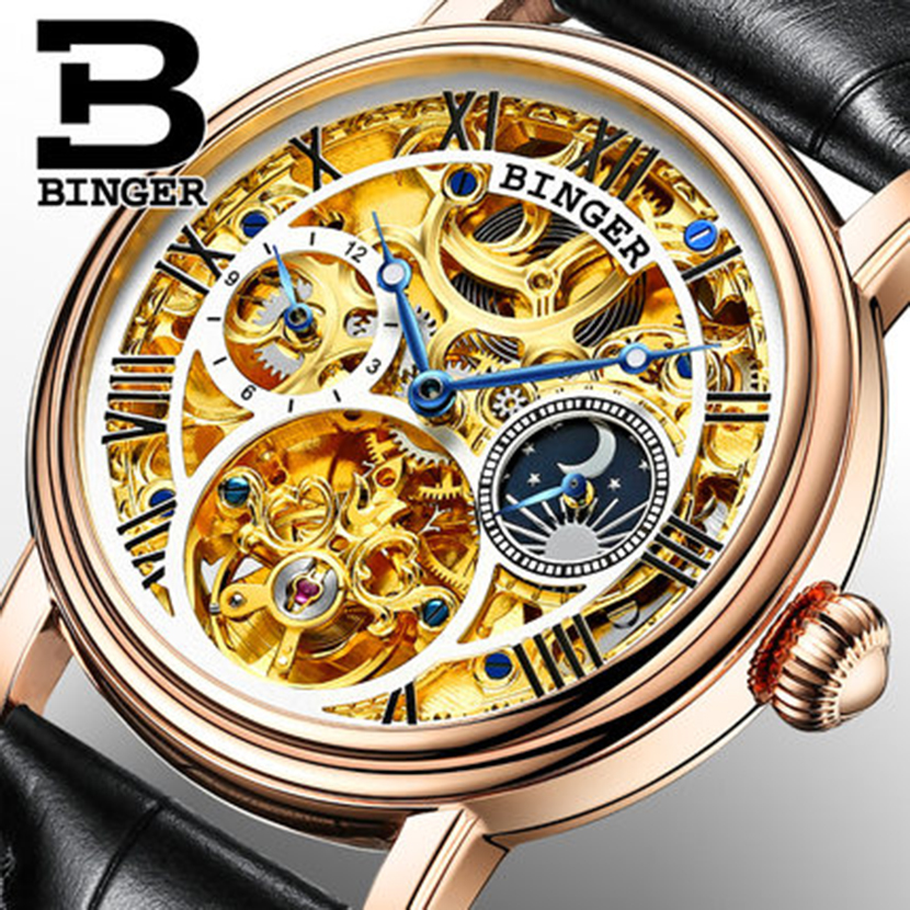 Genuine Switzerland BINGER Men sapphire luxury self-wind automatic mechanical full steel gold dual Tourbillon hollow waterproof tevise fashion auto date automatic self wind watches stainless steel luxury gold black watch men mechanical t629a with tool