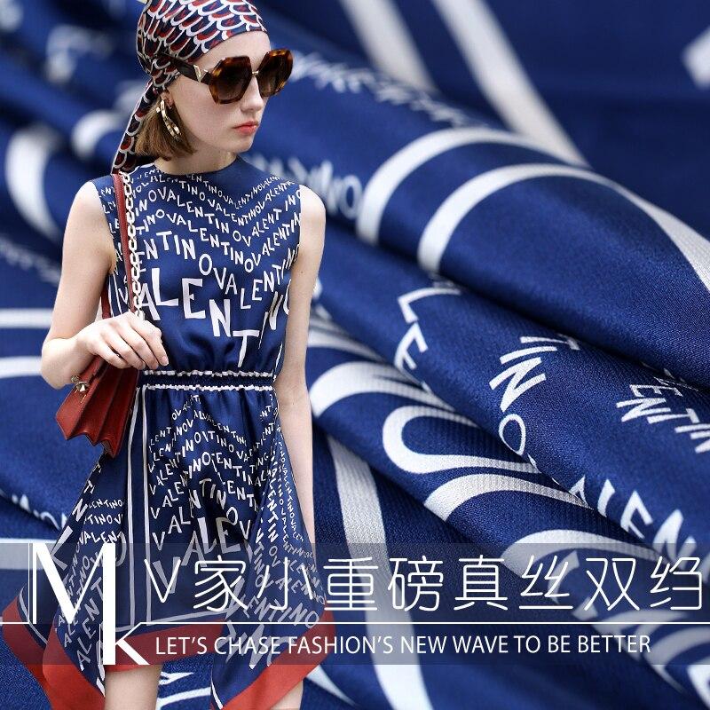 19 printemps été nouveau 145cm De large 19 Momme 100% soie crêpe De Chine tissu lettre numérique imprimé Colth pour bricolage couture robe vente