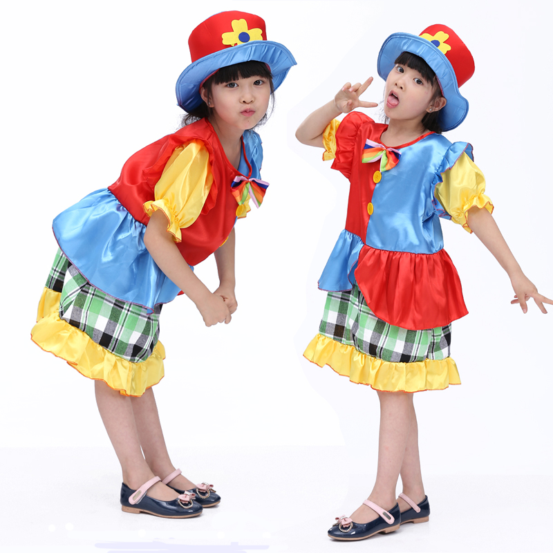 Free shipping The new children's Halloween costume cosplay costume masquerade clown dress performance clothing for girls