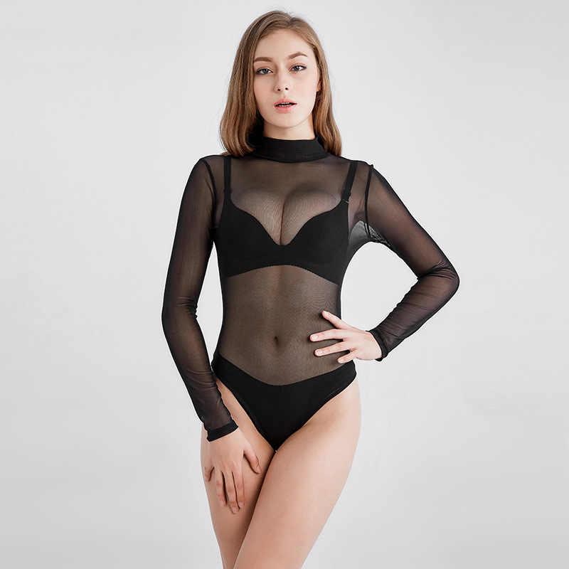 670e6e779fd MUXU mesh transparent black see through long sleeve jumpsuits 2018 summer  bodysuit rompers womens jumpsuit women