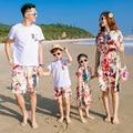 Vestido de trajes a juego de la familia 2017 de verano de la familia de madre e hija padre hijo clothing t-shirt pantalones de algodón mommy and me ropa
