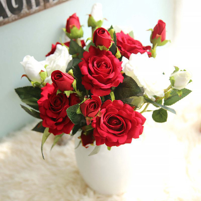 DIY 3 Heads/bouquet Red Rose Artificial Flowers Real Touch Silk Flower For Wedding Design Valentine's Day Party Home Decoration
