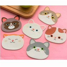 1Pc Silicone Cute Cartoon Cat Cup Pad Coaster Table Drink Mug Mat Durable Non-Slip Coffee Tea Hot Kitchen Decors
